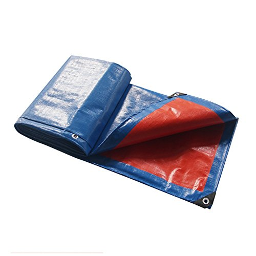 AJZGF Regenschutz Wasserdicht Plane, regendichte Sonnenschutzplane, LKW-Plane im Freien Schatten Staub- und Winddicht, Blau + Orange (Farbe   Blau, Größe   4 x 5m)