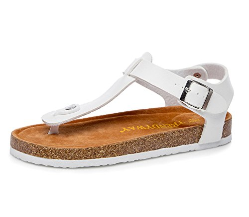 Men Womens Flat Sandals Comfort Cork Flip Flops Beach Shoes With Ankle Strap White
