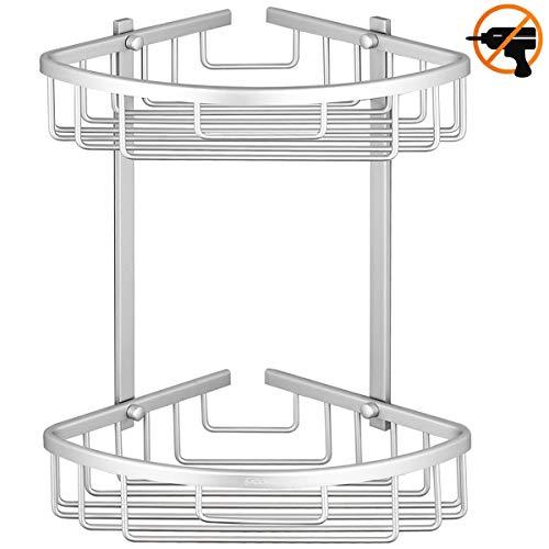 ADOVEL Corner Shower Caddy Adhesive Bathroom Shelf, Aluminum Rustproof, No Drilling - 2 Tiers (Shelf Corner Caddy)