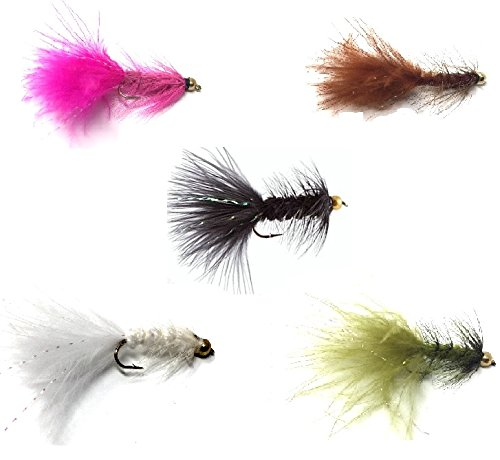 Fly Fishing Assortment - Bead Head Wooly Bugger - 36 Flies for Trout and Other Freshwater Fish - 5 Color Variety of Black, White, Brown, Olive, and Pink Plus Flash