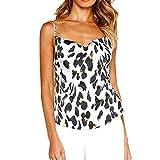 NUWFOR Women Ladies O-Neck Print T-Shirt Sleeveless Casual Tops Blouse Vest Tank(White,US S Bust:31.43'')