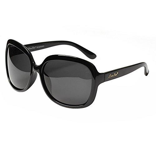 LianSan Oversized Womens Sunglasses Polarized uv Protection Simple Sunglasses LSP301 (polarized black)
