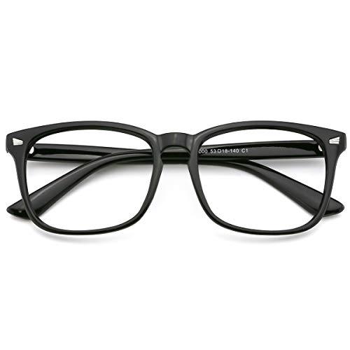 (Slocyclub Vintage Nerd Square Eyeglasses Frame Keyhole Design Non Prescription Lens Glasses for Women Men)