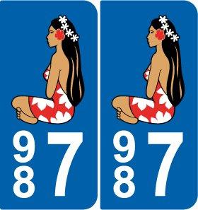 SAFIRMES 2 Sticker HINANO Plakette Zulassung D/épartement 987