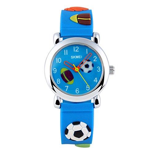 GRyiyi Kid's Outdoor Carton Waterproof Wrist Watch Time Teacher for Children 3D Rubber Band, Deep Blue by GRyiyi