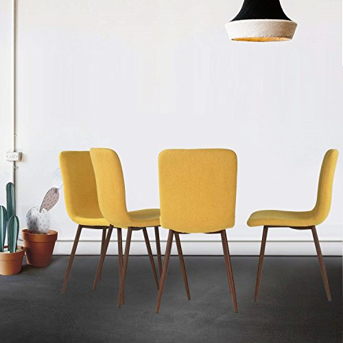 Coavas Set of 4 Dining Chairs Fabric Cushion Kitchen Side Chairs with Sturdy Metal Legs for Dining Room, Yellow by Coavas (Image #10)