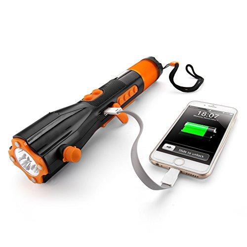 Flexzion-Emergency-LED-Flashlight-Rechargeable-Hand-Crank-Lamp-USB-Cell-Phone-Charger-Window-Breaker-Seat-Belt-Cutter-Compass-Radio-Waterproof-Emergency-Tool-For-Auto-Camping-Hunting-Fishing