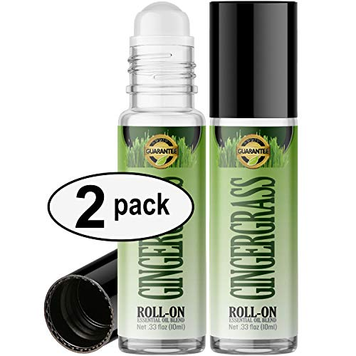 (Gingergrass Roll On Essential Oil Rollerball (2 Pack - Pure GINGERGRASS Oil) Pre-diluted with Glass Roller Ball for Aromatherapy, Kids, Children, Adults Topical Skin Application - 10ml Bottle)