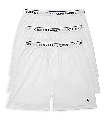 Polo Ralph Lauren Men's Classic Fit w/Wicking 3-Pack Knit Boxers White/Cruise Navy Pony Print Large