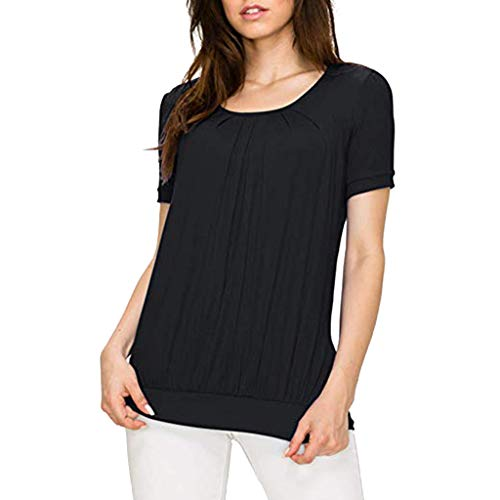 - GHrcvdhw Women's Front Pleat Short Sleeve Blouses Top Double Layers Casual Tops T-Shirt Black