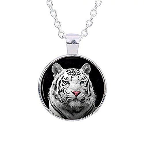 Silver Glass Photo White Tiger Pendant Necklace