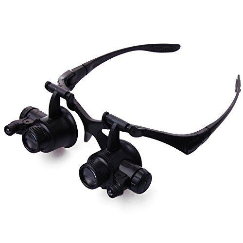 XCSOURCE® Lupenbrille mit 2 LED's und 4 Lupeneinsätzen Uhrmacher 10x 15x 20x 25x TE62