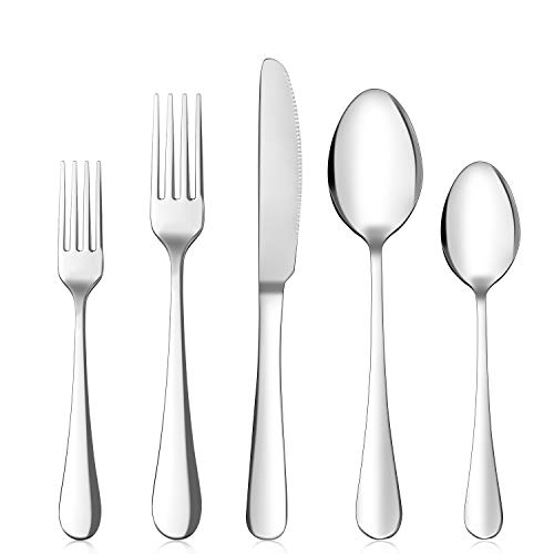 20 Pieces Silverware Flatware Set, Stainless Steel Cutlery Forks Spoons Service for 4 set, Elegant Utensil Tableware…