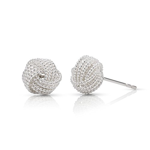 WithLoveSilver 925 Sterling Silver Love Knot 4 Twist Wire Edges Ball Stud Earrings