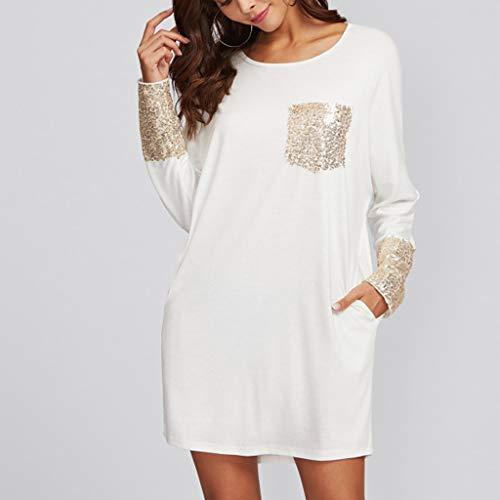 PASATO Fashion Womens Round Neck Dress Sequined Pocket Casual Loose T-Shirt Dress(White,XL=US:L) by PASATO Dress (Image #2)