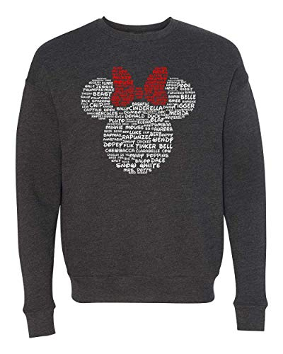 Minnie Mouse Disney Adult Women and Ladies Character Name T-Shirt, Tank, Hoodie, Long Sleeve (Dark Heather Grey Fleece Crew, Medium) -