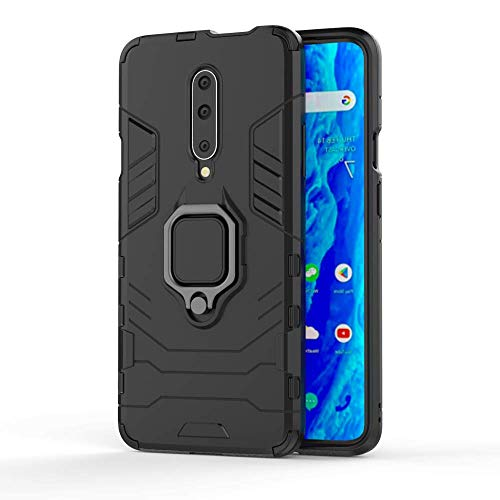 Casodon Back Cover Kickstand View Ring Holder Armor Case for OnePlus 7 Pro (Black)
