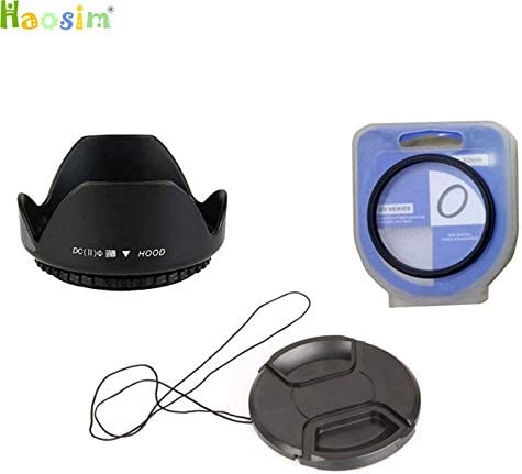 3 in1 49 52 55 58 62 67 72 77 82 mm Center Pinch Snap-on Cap Cover Lens Hood ND UV CPL Filter A, 52mm Lens UV Filter
