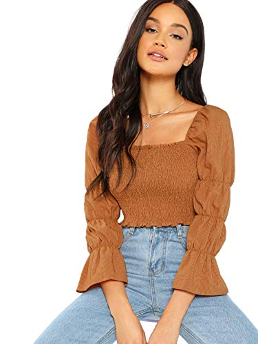 Floerns Women's Elastic Square Neck Puff Sleeve Shirred Crop Top Brown L ()