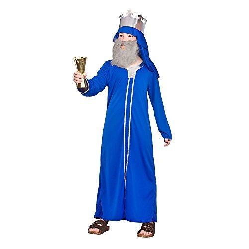 (S) Blue (3-4) Boys Wise Man Caspar Costume for Christmas Festive Nativity Fancy Dress Outfit by Partypackage Ltd