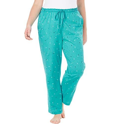 (Dreams & Co. Women's Plus Size Knit Sleep Pant - Aquamarine Dot, L)