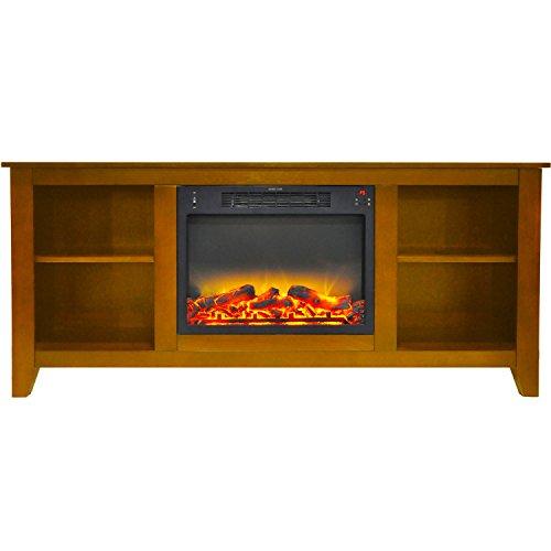 Fireplace Santa Monica - Cambridge CAM6226-1TEKLG2 Santa Monica 63 In. Electric Fireplace & Entertainment Stand in Teak with Enhanced Log Display