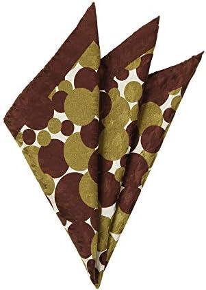 (ザ・スーツカンパニー) MADE IN ITALY/ドット&ハウンドトゥース柄 シルクポケットチーフ ブラウン×カーキ×オフホワイト