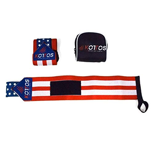 BYKOTTOS Wrist Wraps Weightlifting, Powerlifting Straps, Crossfit Wrist Support, Weight Lifting, Workout Wrist Braces, Wrist Wraps for Men and Women (USA Flag)