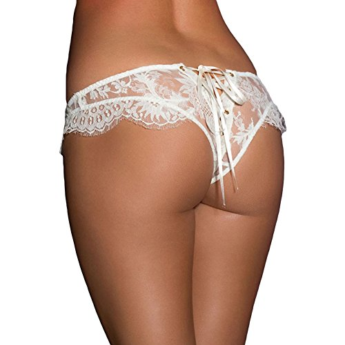 Satin Heart G-string (Oliveya Womens Sexy Lace Panty Hipster Underwear Naughty Thong G-String White XL)