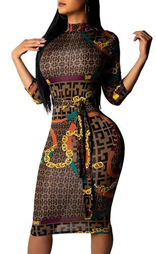 - Women Bandage Dress Turtleneck Long Sleeve Geometric Slim Fit Pencil Work Bodycon Suiting Zipper Back