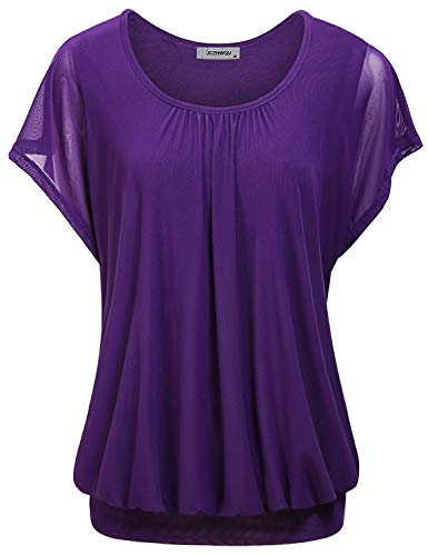 Pleated Flounce - Tunic Blouse, Women's Scoop Neck Short Batwing Sleeve Comfy Retro Mesh Sheer Two Layers Pleated Flounce T Shirt Tops Wardrobe Purple XL