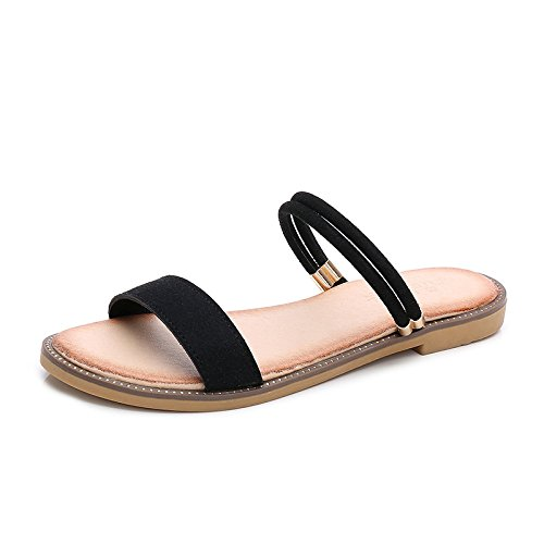 HGDR Ladies Womens Open Toe Sandals Slippers Summer Flip Flop Ankle Strap Flat Beach Shoes Sandals Black