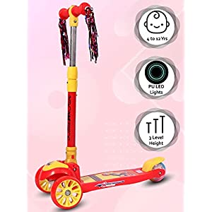 Little-Olive-Munchkin-Scooter-for-Kids-of-3-Years-3-Adjustable-Height-Foldable-LED-PU-Wheels-Kids-Scooter-with-Brakes-Red