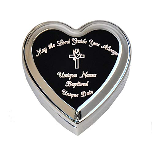 (Stanley London Engraved Heart Shaped Jewelry Box (Personalized Baptism/Confirmation Gift) (Personalized Baptism Box) )