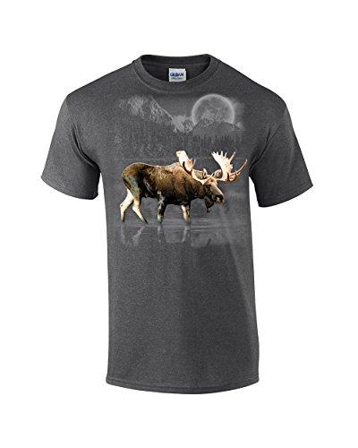 Moose Wilderness Moonlight & Mountains T-Shirt-Heather Grey-XL Moonlight Moose
