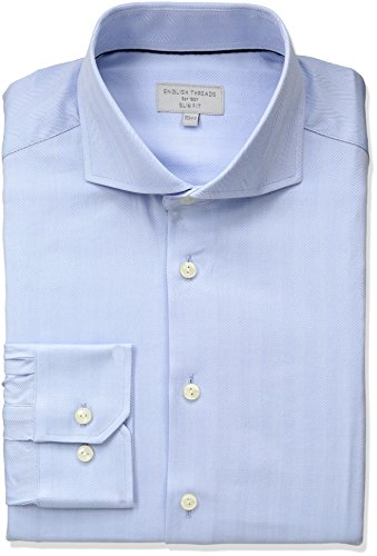 Fitted Pinpoint Dress Shirt - English Threads Men's Slim Fit Herringbone Dress Shirt, Blue, 15.5