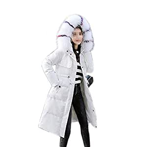 Ladies Elastic Reflection Down Jacket, Winter Hooded Stitching Colored Fur Collar Warm Coat Outdoor Camping Hiking Windbreaker (Color : White, Size : XL)