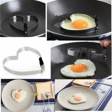 cocinar panqueques huevo frito de acero inoxidable del molde conformador de corazón: Amazon.es: Hogar
