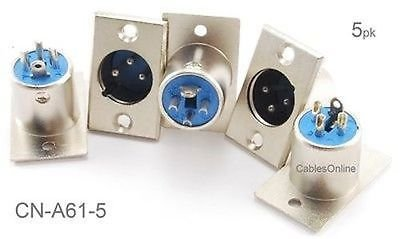 CablesOnline , 5 - Pack XLR 3 - Pinオスプラグパネルマウント、ニッケルメッキコネクタ、cn-a61 – 5 B01CD2AYJO