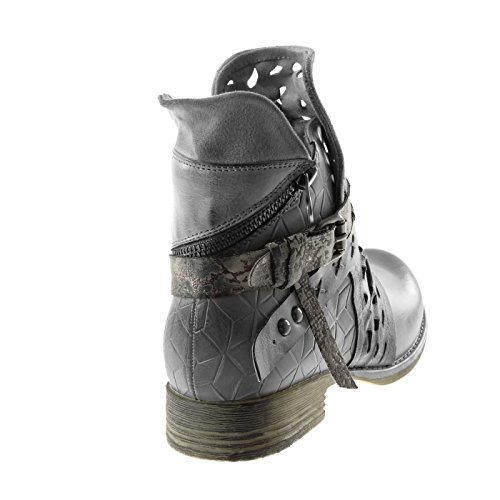 Peau Croco Cavalier Mode Couverte de Angkorly Femme Serpent Brod Motard Bottine Chaussure 0Bnqa4