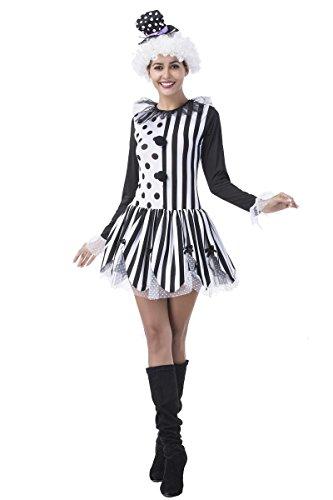 Adult Women's Killer Clown Costume, Womens Freak show Killer Clown Tutu Dress and Hat Halloween Tights Costume (Medium) (Clown Tutu Dress)