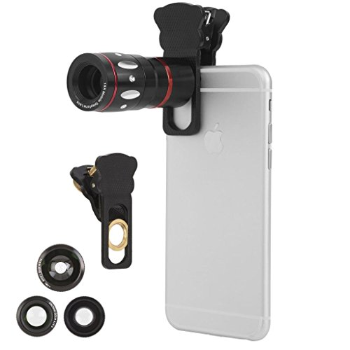 Ivation Universal Smartphone Camera Lens Kit for Samsung Galaxy 5, S5, S6, S6 Edga and All Smartphones - Includes 10x Telephoto Lens, 180° Fisheye Lens, Macro Lens, Wide Angle Lens, Universal Smartphone Clip - Bonus Lens Pouch Included - Black