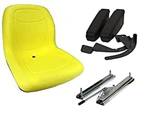 Ropa de asiento de respaldo alto amarillo con reposabrazos y kit de tracción deslizante para funda Skid Steer Loader de The ROP Shop