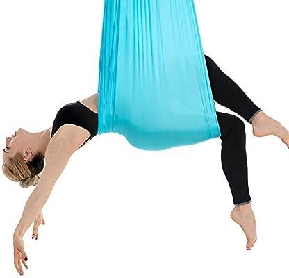 Himifuture - Hamaca voladora de Yoga, 5 m de Largo, 3 m de Ancho, con mosquetón y Cadena de Margaritas para Yoga, Pilates antigravedad