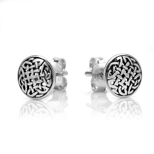 925 Oxidized Sterling Silver Tiny Circle Celtic Knot 8 mm Post Stud Earrings - Celtic Circle Earrings
