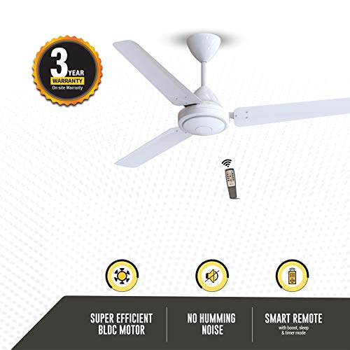 Gorilla Efficio Energy Saving 5 Star Rated 3 Blade Ceiling Fan With Remote Control and BLDC Motor,...