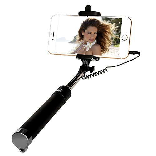 Selfie Stick, Yoyamo Wired Selfie Stick for iPhone 6S/6S Plus/6/6 Plus/5S/ GalaxyS7/ Galaxy S7 Edge and More(Black)