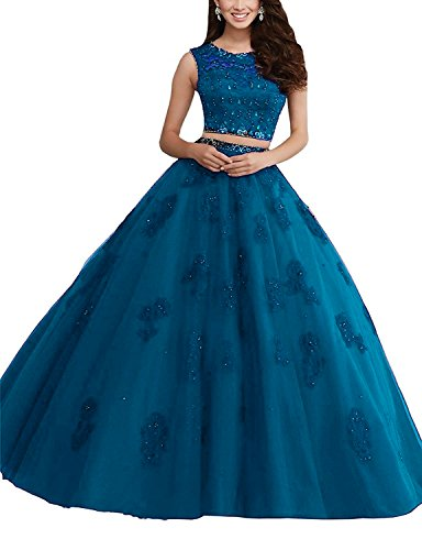 Two Gown BessDress Ball Quinceanera Long Teal BD078 Lace Rhinestones Prom Piece Dresses Iqww4xUt6