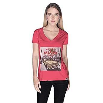 Creo Mint Beard Skull T-Shirt For Women - L, Pink