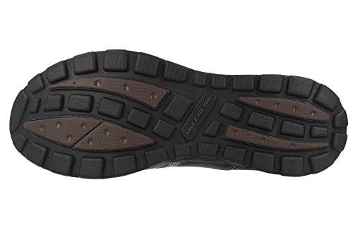 Skechers - Zapatos de cordones de cuero para hombre marrón marrón